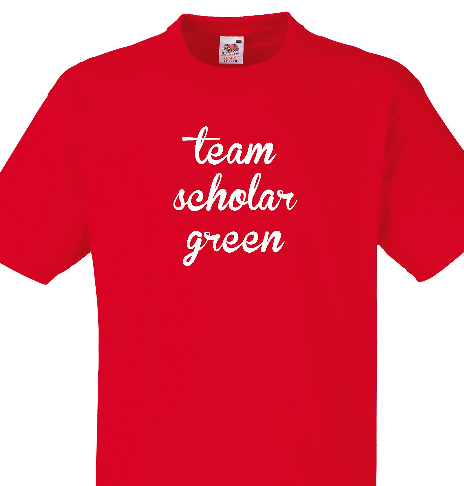 Team Scholar green Red T shirt