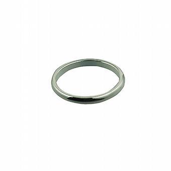 Zilveren 2mm platte die d-vormige trouwring grootte P
