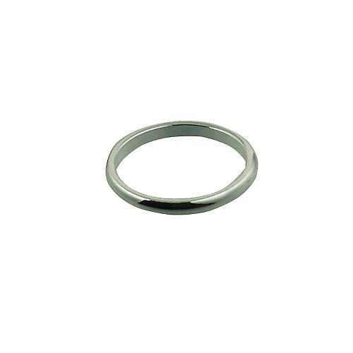 Silver 2mm plain D shaped Wedding Ring Size P