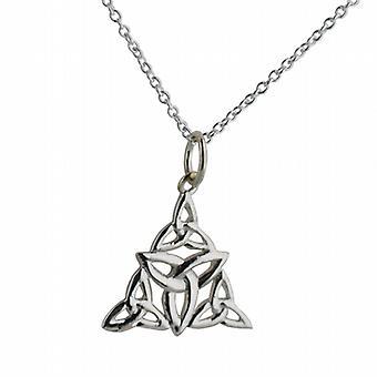 Silber 17x16mm dreifach keltischer Trinity Knot Anhänger mit einem Rolo Kette 24 Zoll