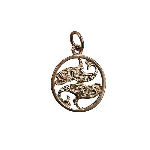 9ct Gold 11mm pierced Pisces Zodiac Pendant