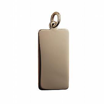 9ct Gold 26x13mm plain rectangular Disc