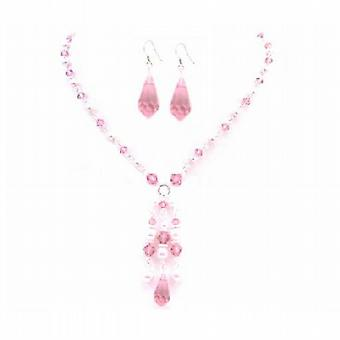 Swarovski Rose Crystals Pink Pearls Party Wedding All Occasion Jewelry