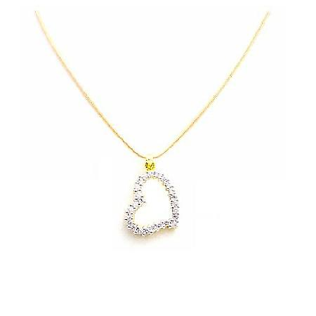 Beautiful Floating Heart Diamond Heart w/ Micron 18k Gold Chain