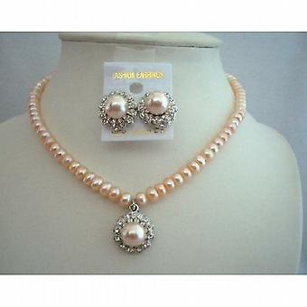 Handcrafted Custom Jewelry Potato Freshwater Pearls Peach Necklace Set