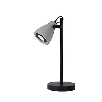 Lucide Concri LED Modern Round Metal Black And Grey Desk Lamp