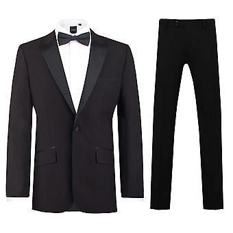Dobell Mens Black 2 stykke Dress Slim Fit topp jakkeslaget kveld middag Dress