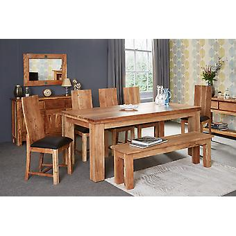 Stone Acacia 200cm Dining Table Set with 6 Chars