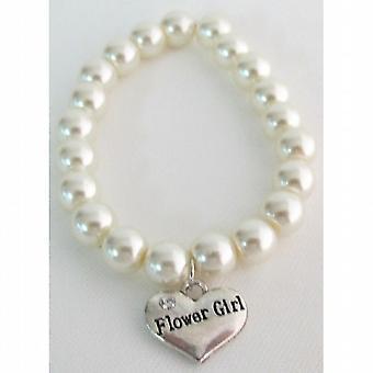 Wedding Gift Bridal Party Jewelry Flower Girl Bracelet Ivory Pearls