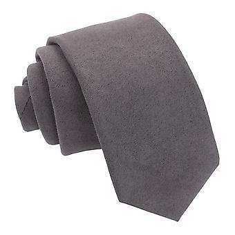 Cravate mince de suede de charbon de bois