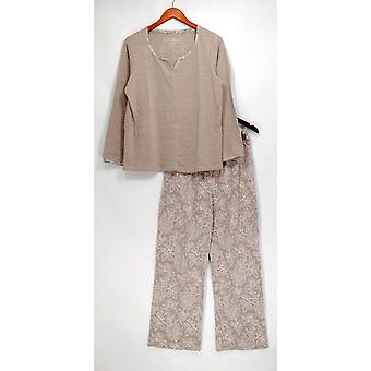 Carole Hochman Pajama Sets Floral Paisley Interlock Lounge Set Gray A306554