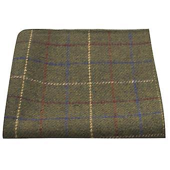 Heritage Check Regency Green Pocket Square, Tweed, Handkerchief