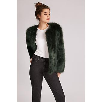 JDY Fenya Faux Fur Jacket Green