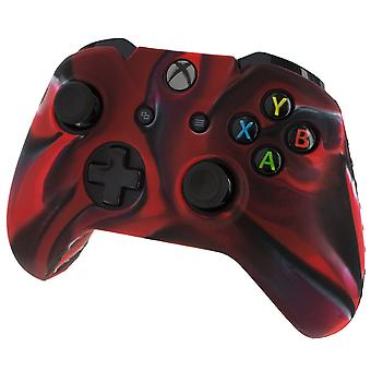Soft silicone rubber skin grip cover for xbox one controller with ribbed handle - camo red