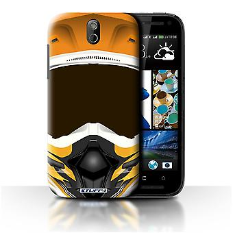 STUFF4 Case/Cover voor HTC Desire 608t/Motocross/Orange/motorfiets helm