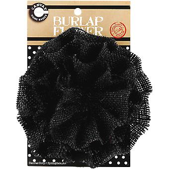 Burlap Flower Black Burflwr 2595