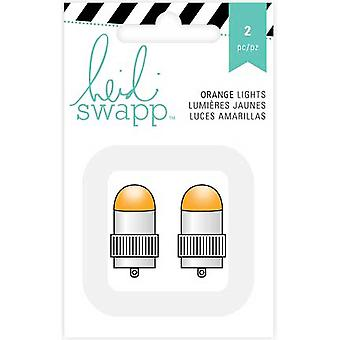 Heidi Swapp Paper Lantern Lights 2/Pkg-Orange HS340595