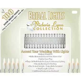 Bridal Lights 100 Count 32 Feet Clear Bulbs with White Wire Vl100 1