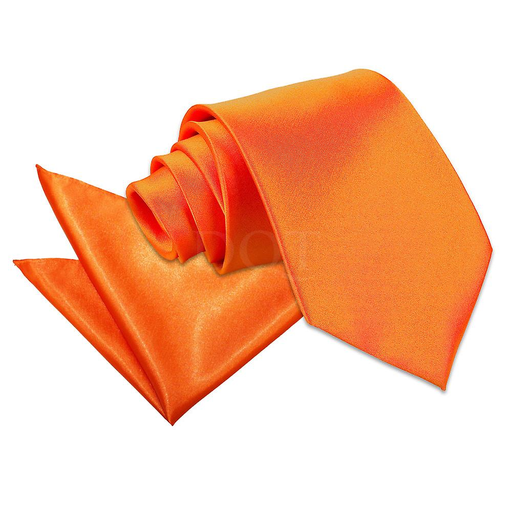 Plain Burnt Orange Satin Tie 2 pc. Set