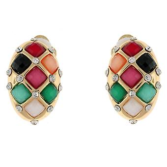 Clip On Earrings Store Multicoloured Faceted Stone Oval Clip On Earrings