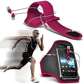 ( Hot Pink + Earphones) HomTom HT17 Pro case High Quality Fitted Sports Armbands Cover By i-Tronixs