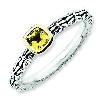 2.5mm Sterling Silver and 14k Stackable Expressions Checker-cut Citrine Antiqued Ri - 10 Inch