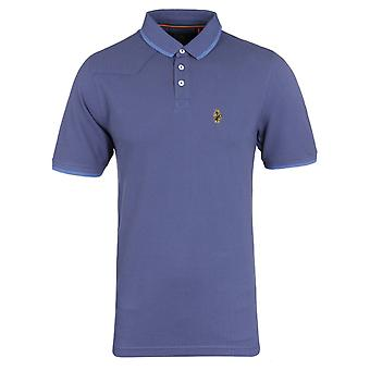 Luke 1977 Jude Petrol & Sky Blue Pique Short Sleeve Polo Shirt