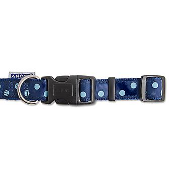 Indulgence Nylon Adjustable Collar Vintage Polka Navy Blue 30-50cm Sz 2-5