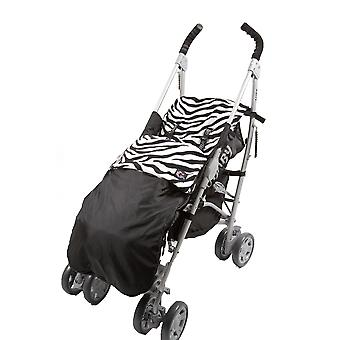 Genesis Universal Showerproof Zebra Print & Black Footmuff Fleece Lined Windproof  Cosytoes Buggy Liner