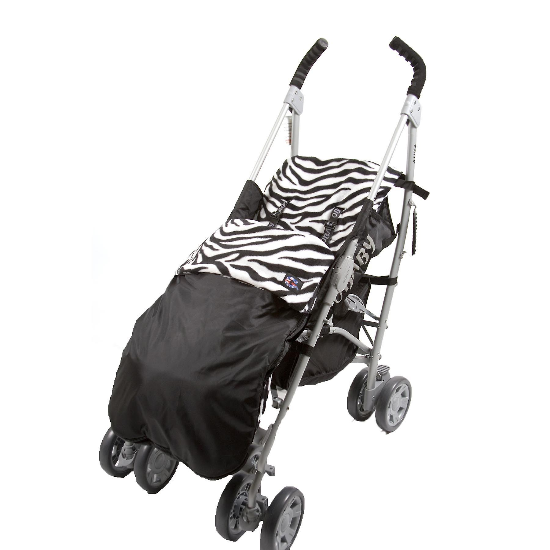 Genesis Universal Showerproof Zebra Print & Black Footmuff Fleece Lined Windproof  Cosytoes Buggy Liner