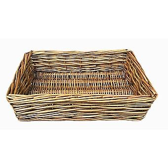 Small Antique Wash Straight Sided Wicker Tray