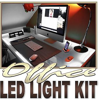 Biltek 2' ft Cool White Desk Hutch Drawers Laptop LED Strip Lighting Complete Package Kit Lamp Light DIY - Under Desk Hutch Drawers Bookshelf Reading Glass Case Waterproof Flexible DIY 110V-220V