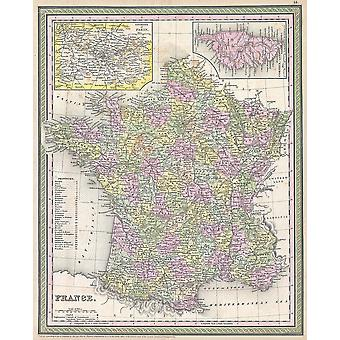 Thomas Eakins - Mitchell Map of France Poster Print Giclee