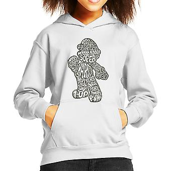 Mario Text Silhouette Kid's Hooded Sweatshirt