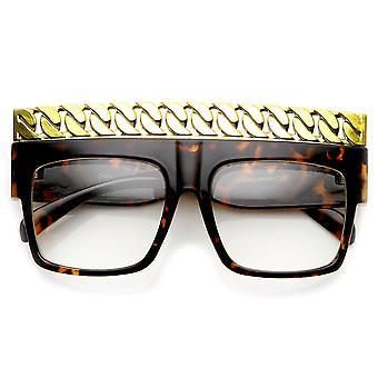 High Fashion Bold Chain Top Square Clear Lens Sunglasses