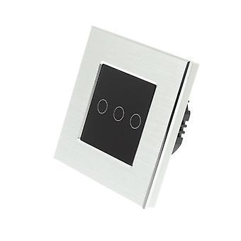 Yo LumoS plata aluminio cepillado 3 cuadrilla 2 forma táctil LED luz interruptor negro