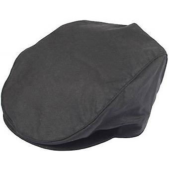 Deuken Wax Cotton Flat Cap - zwart
