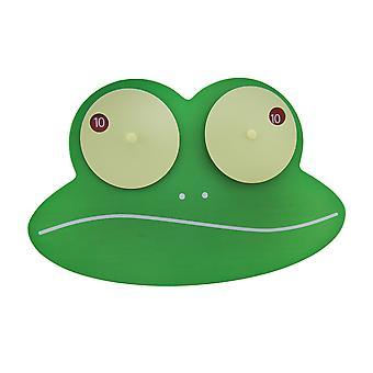 Ziggy 緑ぎょろ目カエル木製壁掛け時計