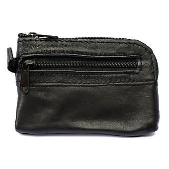 Mens Ladies SMALL Soft REAL Leather Coin Purse - Key Case TWO Zips