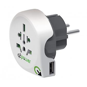 Q2 Power Travel Adapter World-to-Europe USB Grounded