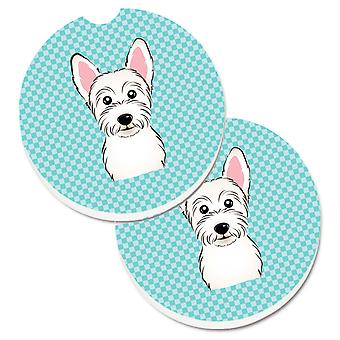 Checkerboard Blue Westie Set of 2 Cup Holder Car Coasters