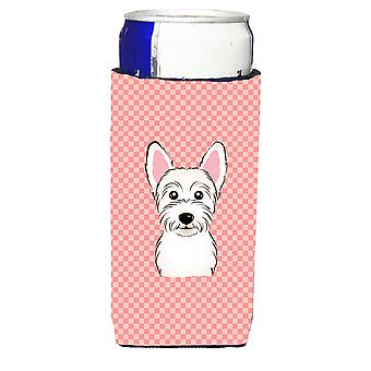 Checkerboard Pink Westie Ultra Beverage Insulators for slim cans