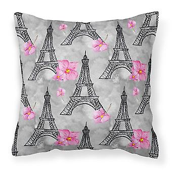 Watercolor Pink Flowers Eiffel Tower Fabric Decorative Pillow
