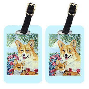 Carolines Treasures  7084BT Pair of 2 Corgi Momma's Love and Roses Luggage Tags