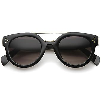 Modern Double Bridge Brow Bar Wide Temple Round Horn Rimmed Sunglasses 60mm