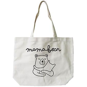 Bolsa grande de lienzo de algodón 100% de Mamabear las mujeres, bolso reutilizable de la Eco