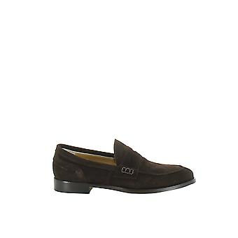 Longhi men's 185002MARRONE brown suede leather moccasins