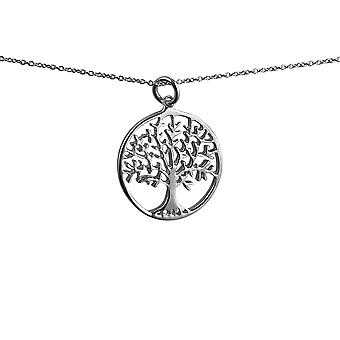 Silver 24mm round 1.7mm thick Tree of Life Pendant with rolo Chain 14 inches Only Suitable for Children