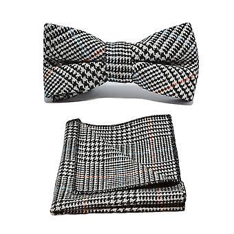 Zwarte & wit slagtand Check Tweed strikje & zak plein Set