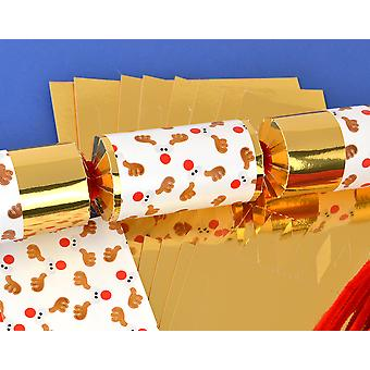 8 Gold Foil Funky Rudolph Make & Fill Your Own Christmas Crackers Kit